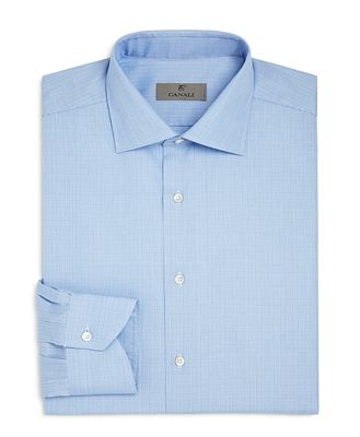 Canali Glen Plaid Regular Fit Dress Shirt