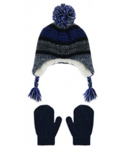 Capelli Boys' Marled Knit Ear Flaps Hat & Mittens Two Piece Set - Little Kid