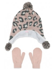 Capelli Girls' Animal Print Hat & Mittens Two Piece Set - Baby, Toddler