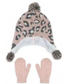Capelli Girls' Animal Print Hat & Mittens Two Piece Set - Big Kid