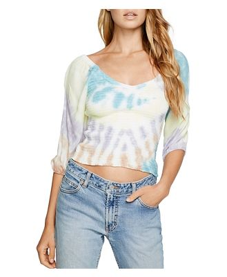 Chaser Smocked Tie-Dyed Top