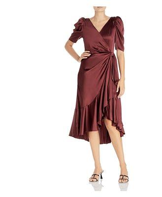 Cinq a Sept Lisa Ruffled Silk Faux Wrap Dress