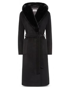 Cinzia Rocca Faux Fur Trim Wrap Coat