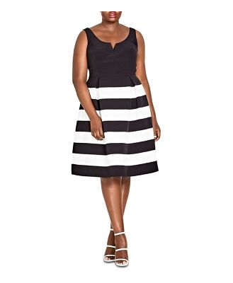 City Chic Plus Fair Lady Striped Fit-and-Flare Dress