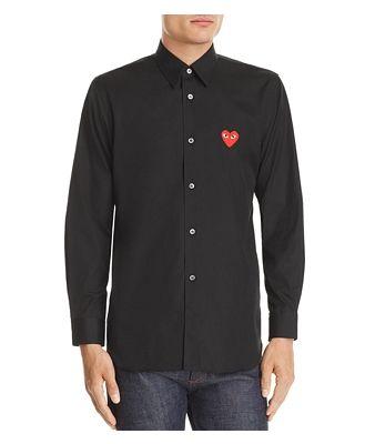 Comme Des Garcons Play Heart Applique Slim Fit Shirt