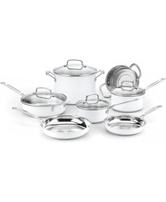 Cuisinart 11-Piece Chef's Classic Cookware Set, Stainless Steel & White - 100% Exclusive