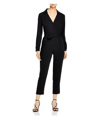 cupcakes and cashmere Cascade Belted Crepe Jumpsuit
