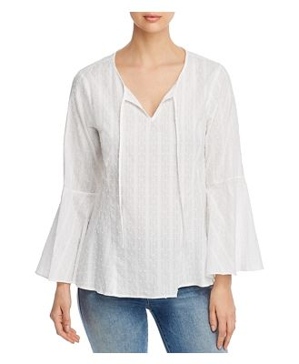 Cupio Cotton Embroidered Flare-Sleeve Top