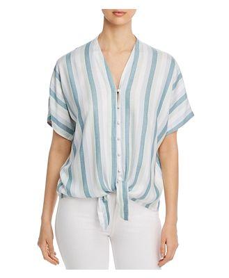 Cupio Striped Tie Front Top