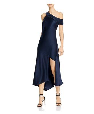 Cushnie Asymmetrical Neck Slip Dress with Cascading Skirt