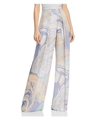 Cushnie Marble Print Semi-Sheer Wide-Leg Pants