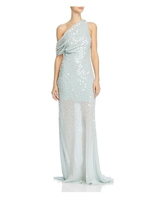 Cushnie One-Shoulder Sheer Gown with Iridescent Paillettes