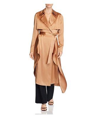 Cushnie Silk Belted Trench Coat