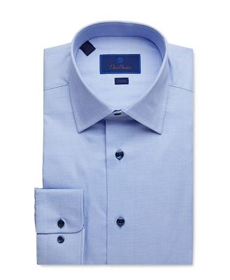 David Donahue Geo Weave Trim Fit Dress Shirt