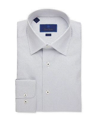 David Donahue Small Dot Trim Fit Dress Shirt
