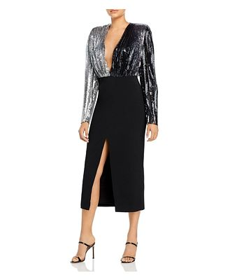 David Koma Pleated Sequins Pencil Dress