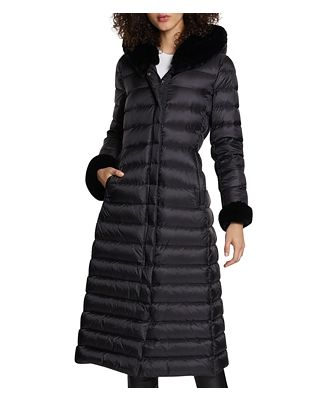 Dawn Levy Lexie Shearling Hood Maxi Puffer Coat