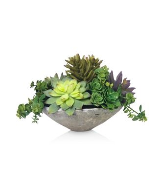 Diane James Home Blooms Echeveria Succulents Faux Floral Arrangement in Clay Bowl