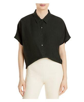 Eileen Fisher Silk Classic Collar Cropped Shirt