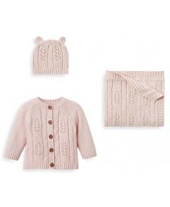 Elegant Baby Girls' Leaf Knit Hat, Blanket & Cardigan Set - Baby