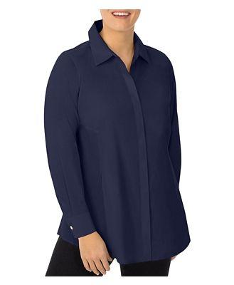 Foxcroft Plus Cici Stretch Tunic Shirt