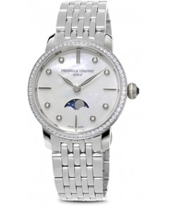 Frederique Constant Slimline Moonphase Stainless Steel Watch with Mother of Pearl Dial, 30mm