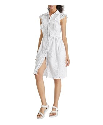French Connection Duna Lawn Eyelet Shirt Dress