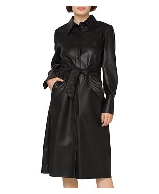 Gracia Faux Leather Puff Sleeve Dress (42% off) - Comparable value $120