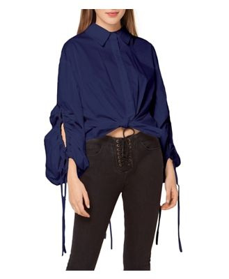 Gracia Shirred Loose Button Down Blouse (30% off) Comparable value $85.50