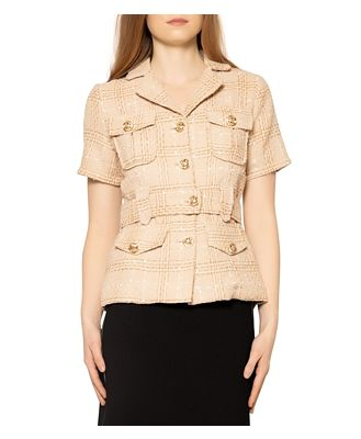 Gracia Tweed Half Sleeve Jacket with Front Pockets & Belt (46% off) - Comparable value $129.60