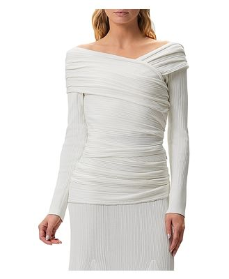 Herve Leger Couture Draped Off-the-Shoulder Top