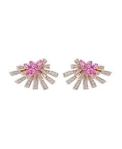 Hueb 18K Rose Gold Mirage Pink Sapphire & Diamond Cluster Stud Earrings