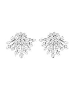 Hueb 18K White Gold Luminus Diamond Cluster Stud Earrings