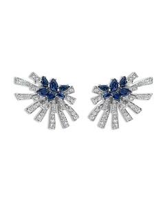 Hueb 18K White Gold Mirage Blue Sapphire & Diamond Cluster Stud Earrings