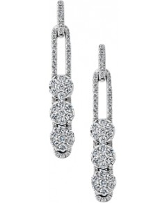 Hulchi Belluni 18K White Gold Tresore Diamond Linear Earrings