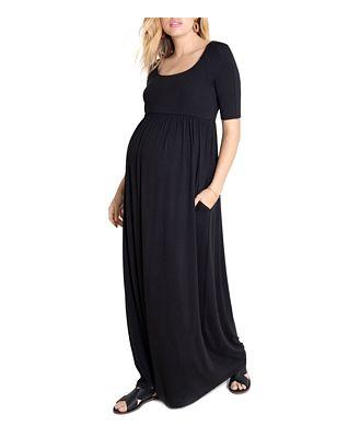 Ingrid & Isabel Elbow-Sleeve Maxi Maternity Dress