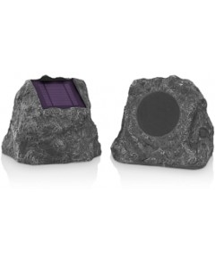 Innovative Tech Solar-Charging Bluetooth Outdoor Rock Speakers, Set of 2