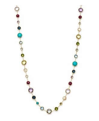 Ippolita 18K Yellow Gold Lollipop Lollitini Mother of Pearl, Green Gold Citrine, Peridot, Green Agate, Blue Topaz, Turquoise, London Blue Topaz, Amethyst & Pink Tourmaline Long Necklace, 36