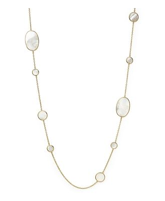 Ippolita 18K Yellow Gold Polished Rock Candy Circle Oval Station Necklace in Mother-Of-Pearl, 37