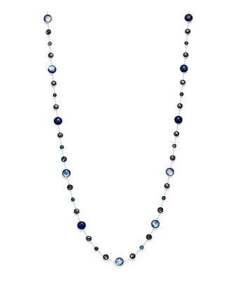Ippolita Sterling Silver Lollipop Lapis Doublet, London Blue Topaz & Hematite Necklace in Eclipse, 36