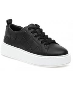 J/Slides Women's DeDe Large Weave Leather Platform Sneakers