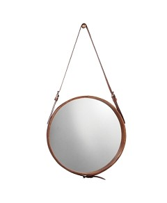 Jamie Young Small Round Mirror, Brown Leather