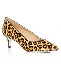 Joan Oloff Women's Callie Leopard Print Calf Hair Kitten-Heel Pumps