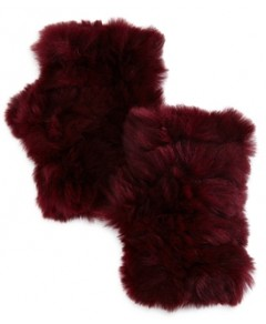 Jocelyn Knit Rabbit Fur Fingerless Gloves