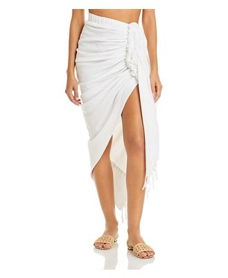 Just Bee Queen Tulum Ruched Fringed Skirt
