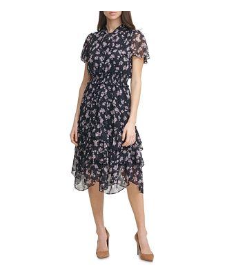 Karl Lagerfeld Paris Floral Print Chiffon Smocked Dress