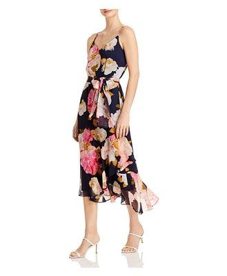 Karl Lagerfeld Paris Printed Belted Midi Dress