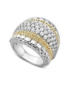 Lagos 18K Gold and Sterling Silver Diamond Lux Large Ring