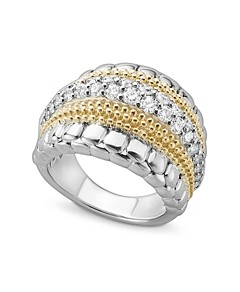 Lagos 18K Gold and Sterling Silver Diamond Lux Ring