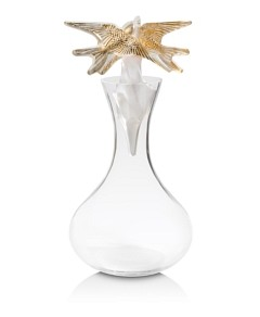 Lalique Clear and Gold Stamped Swallows Decanter, 2018 Vintage Edition